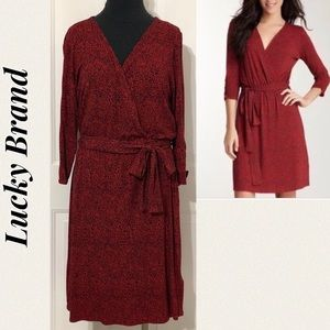 Lucky Brand Red Floral Faux Wrap Dress